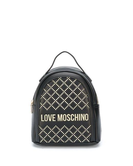 Love Moschino スタッズ ロゴ バックパック Black