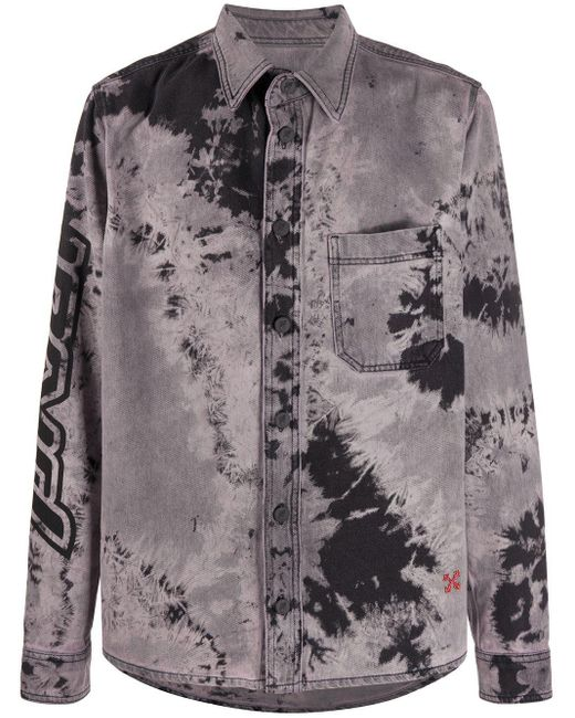 Camicia denim con fantasia tie dye di Off-White c/o Virgil Abloh in Black da Uomo
