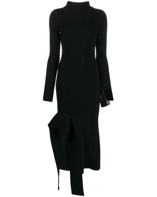 Asymmetric Turtleneck Knitted Dress Off-White c/o Virgil Abloh, цвет: Black