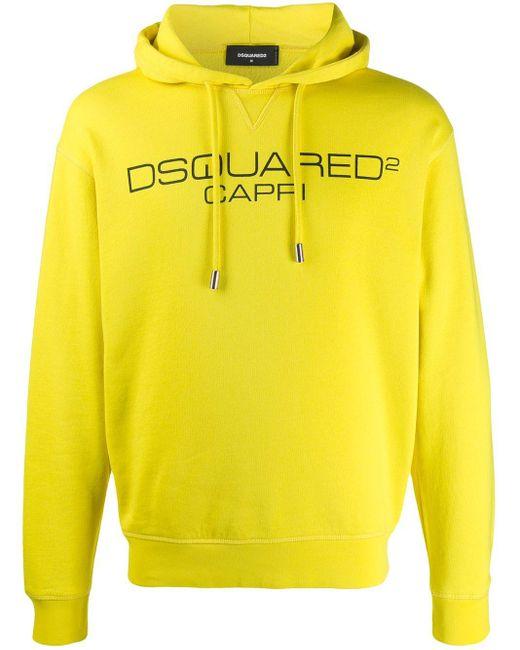 メンズ DSquared² Capri ロゴプリント パーカー Yellow
