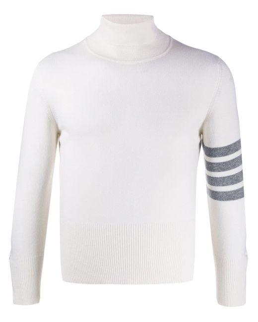メンズ Thom Browne ホワイト 4bar カシミアタートルネック White