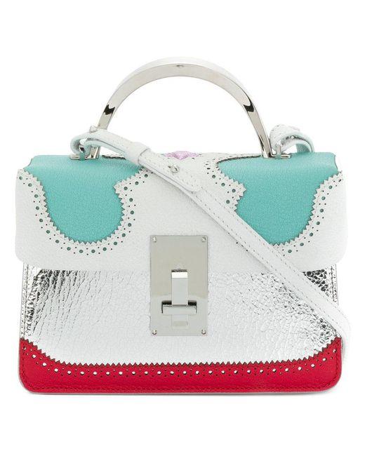 The Volon - Metallic Brogue Detail Contrast Panel Handbag - Lyst
