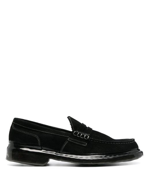 Premiata Black Crossover-strap Suede Loafers for men