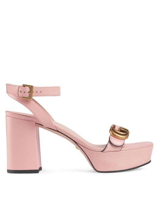 Gucci ダブルg プラットフォームサンダル Pink