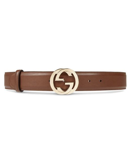 Gucci Brown Leather Belt With Interlocking G Buckle