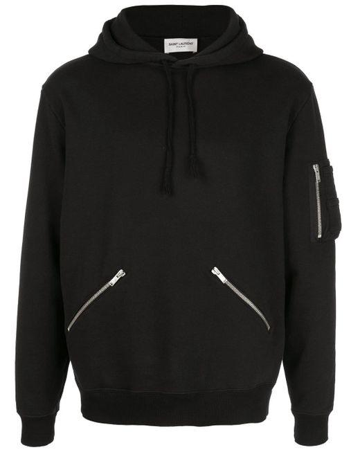 Saint Laurent Kapuzenpullover mit Reißverschluss in Black für Herren