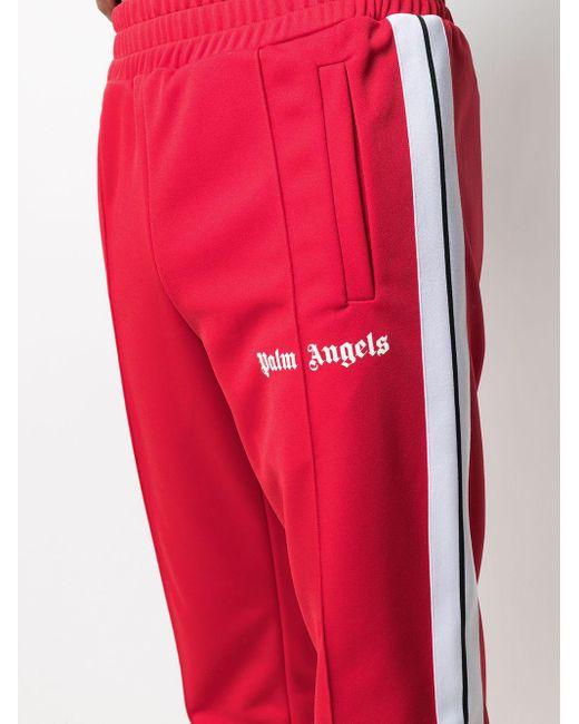 メンズ Palm Angels ロゴ トラックパンツ Red
