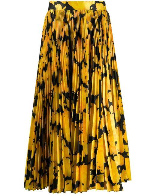 Плиссированная Юбка С Цветочным Принтом Richard Quinn, цвет: Yellow