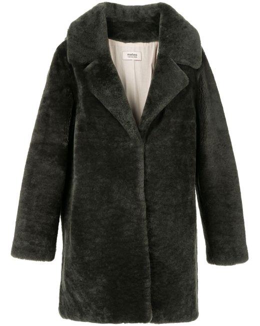 Meteo by Yves Salomon Black Teddy Single-breasted Coat