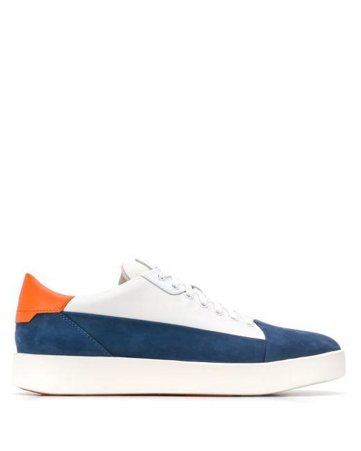 Santoni White Colour Block Sneakers for men