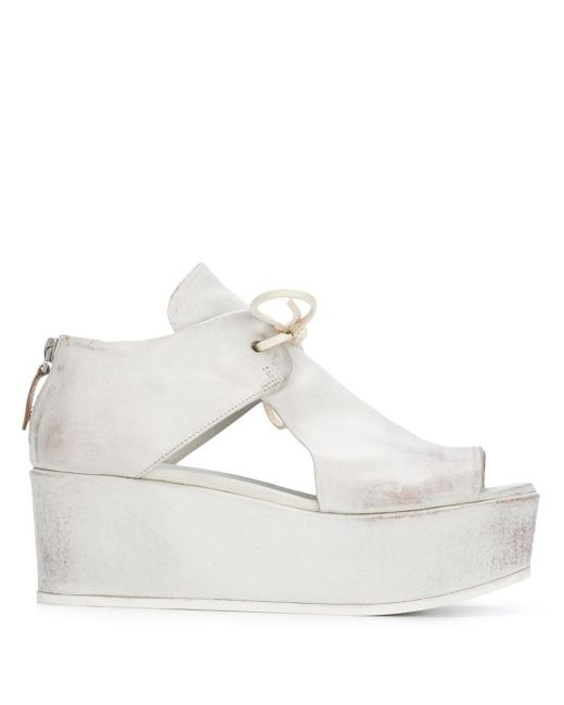 Marsèll White Velvet Platform Sandals