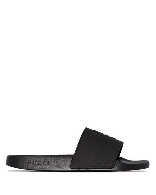 メンズ Gucci Pursuit ロゴサンダル Black