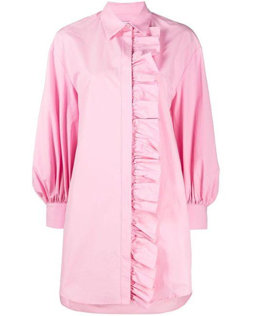Платье-рубашка С Длинными Рукавами И Оборками MSGM, цвет: Pink