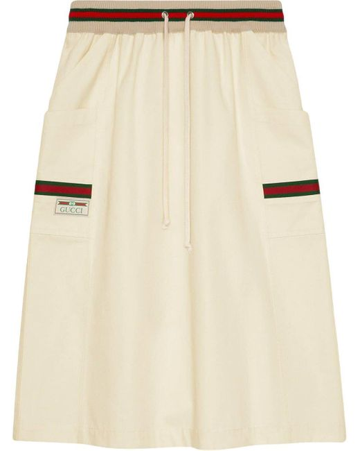 Gucci Natural Web-trimmed Skirt