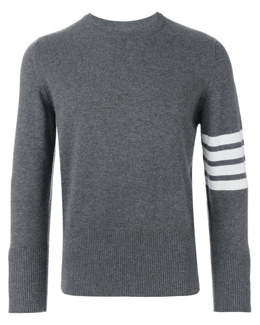 Thom Browne - Gray Striped Sleeve Jumper for Men - Lyst