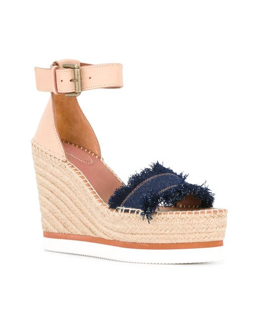 Lyst - See By Chloé Espadrille Wedge Sandals in Blue - Save 71%