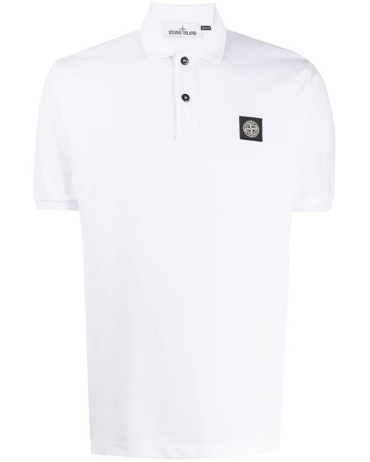 メンズ Stone Island ロゴパッチ ポロシャツ White