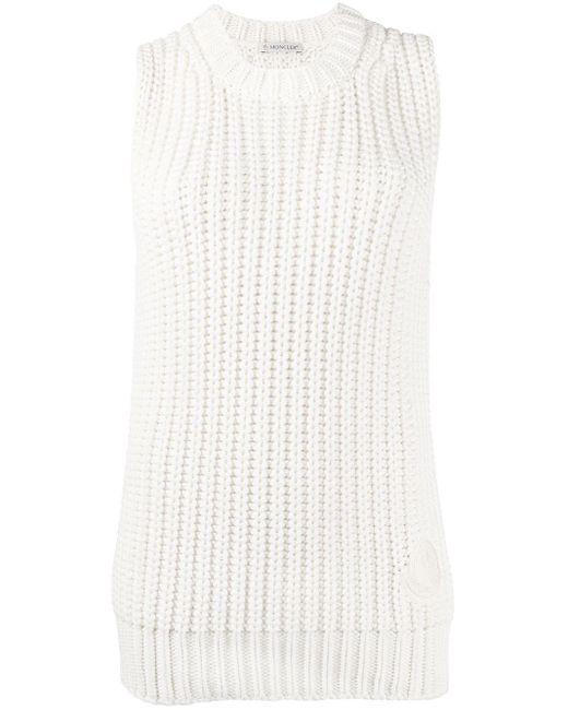 Вязаный Жилет В Рубчик С Круглым Вырезом Moncler, цвет: White