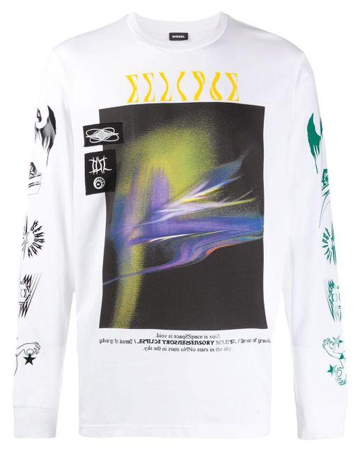メンズ DIESEL ミックスプリント Tシャツ Multicolor