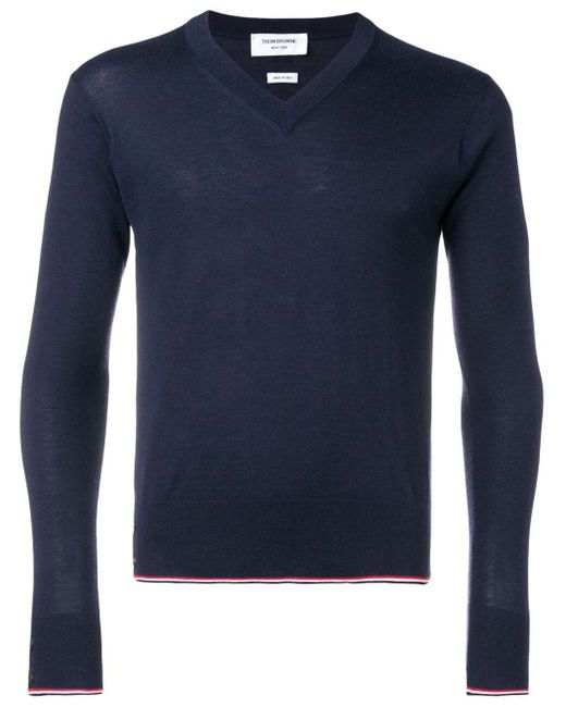 Кашемировый Пуловер С V-образным Вырезом Thom Browne для него, цвет: Blue