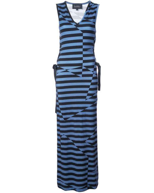 Nicole Miller Illusion Stripe Maxi Dress Black