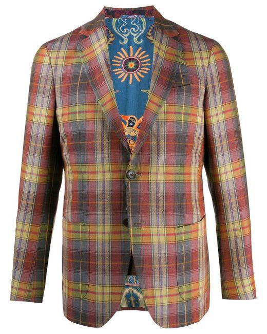 メンズ Etro チェック シングルジャケット Red