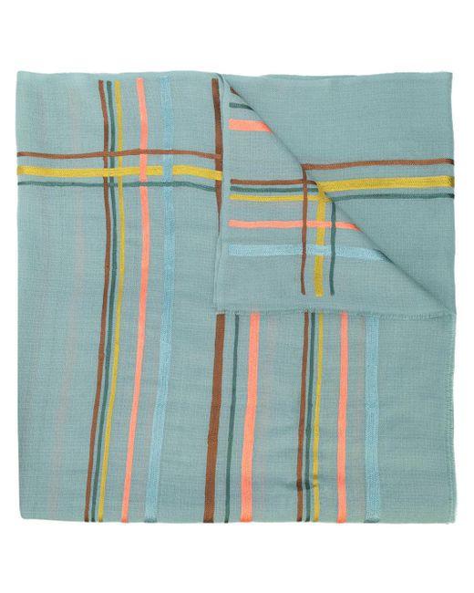 K. Janavi カシミア ボーダー スカーフ Blue