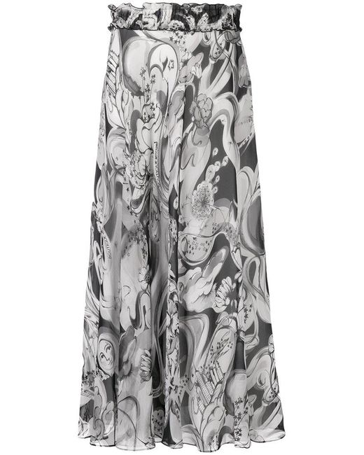 Boutique Moschino - Gray Flared Printed Skirt - Lyst