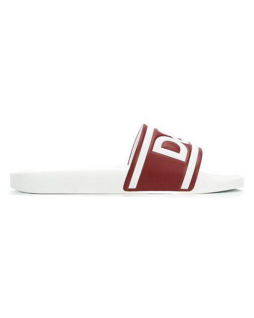 4b41d8aa5 Lyst - Dolce   Gabbana Logo Slides in White for Men