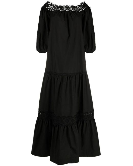 P.A.R.O.S.H. Black Schulterfreies Kleid mit Lochstickerei