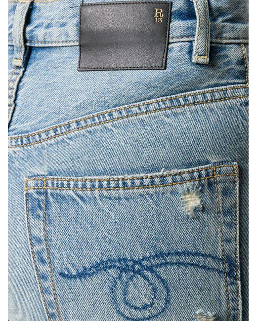 Расклешенные Джинсы С Эффектом Потертости R13, цвет: Blue