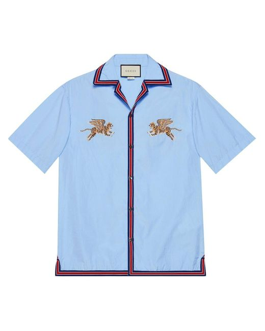 7f60bc9f3 Gucci Tiger Fil Coupé Bowling Shirt in Blue for Men - Save 40% - Lyst