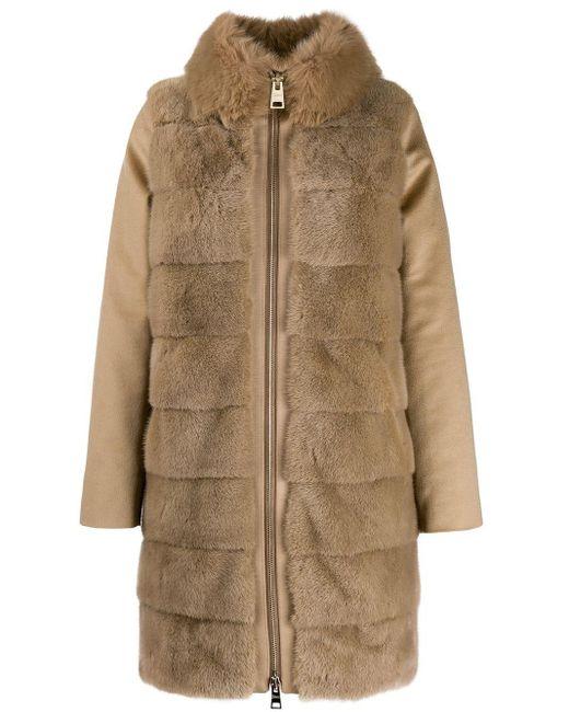 Manteau en fourrure artificielle Herno en coloris Brown