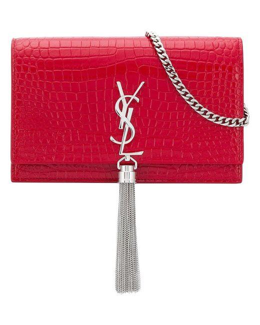 d87e2af18e Saint Laurent - Red Monogram Envelope Crossbody Bag - Lyst ...