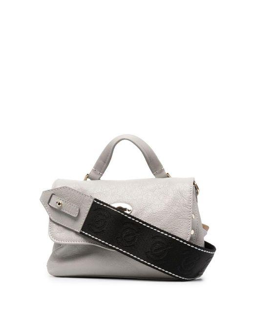 Zanellato Gray Crinkled Leather Satchel Bag