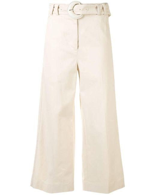 Укороченные Брюки Широкого Кроя PROENZA SCHOULER WHITE LABEL, цвет: Natural