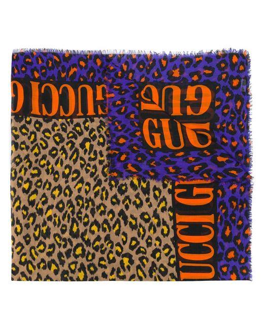 Gucci Sjaal Met Luipaardprint in het Multicolor