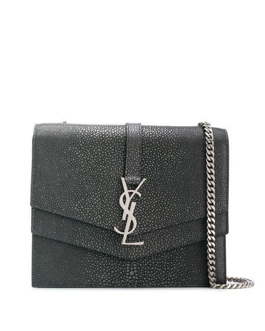 Saint Laurent Gray Casandra Monogram Cross-body Bag