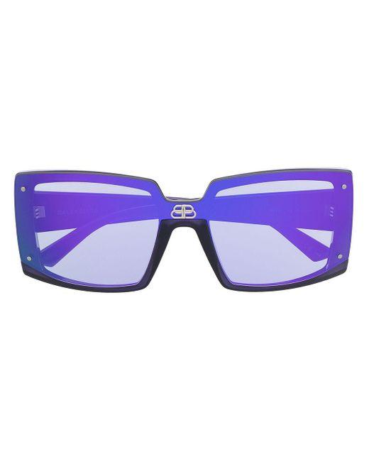 Balenciaga Shield スクエアフレーム サングラス Purple