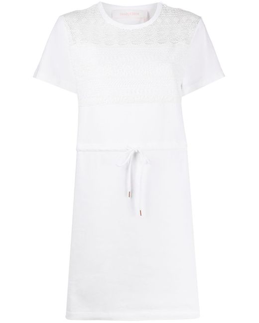 See By Chloé Vestido estilo camiseta con encaje de mujer de color blanco