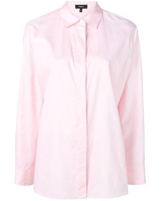 Theory Camisa de popelina de mujer de color rosa UQaFY