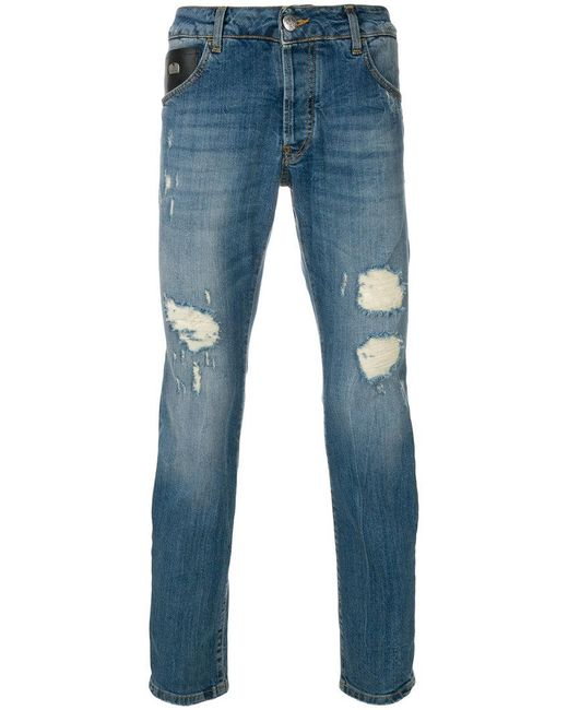 John Richmond | Blue Distressed Fitted Jeans for Men | Lyst
