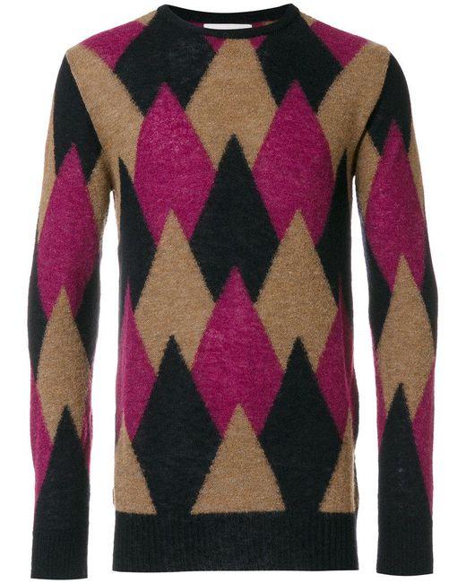 Laneus | Black Argyle Knitted Sweater for Men | Lyst