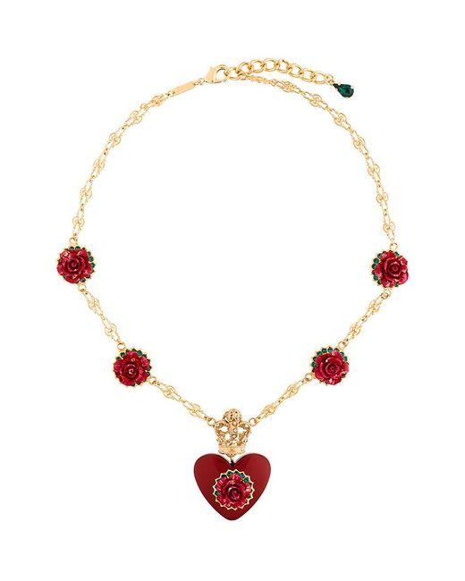 Dolce & Gabbana   Metallic Heart Rose Pendant Necklace   Lyst