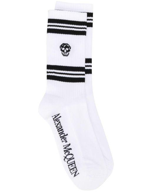 Alexander McQueen White Ribbed Skull Print Ankle Socks for men
