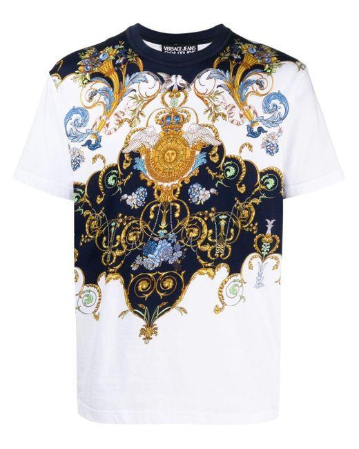 メンズ Versace Jeans バロックプリント Tシャツ White