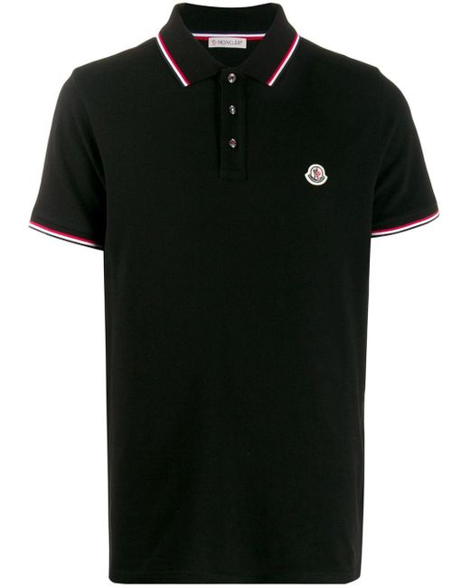 メンズ Moncler ブラック ロゴ パッチ ポロシャツ Black