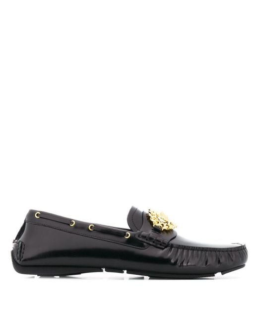Versace Black Medusa Logo Loafers for men