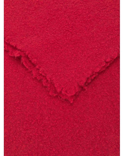 Faliero Sarti カシミア フレイドエッジ スカーフ Red
