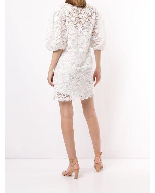 Carolina Herrera パフスリーブ レースドレス White